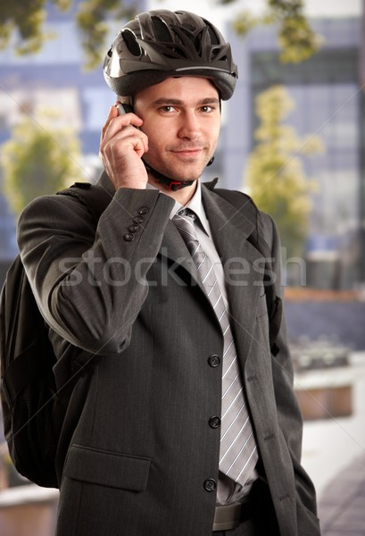 Stock photo: Businessman going to work by bike