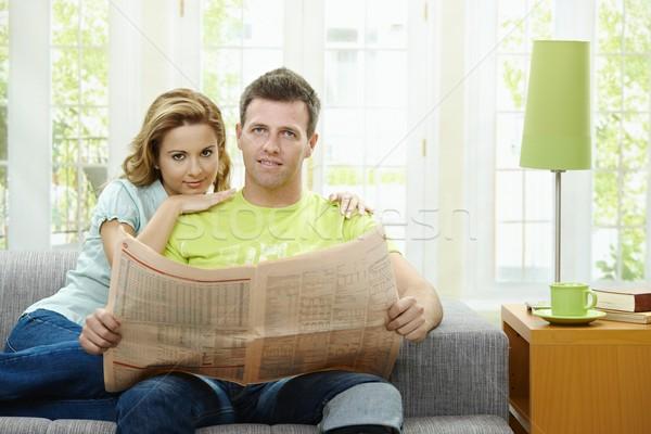 Love couple reading news Stock photo © nyul