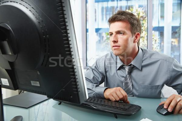 Profi dolgozik számítógép elegáns üzletember néz Stock fotó © nyul