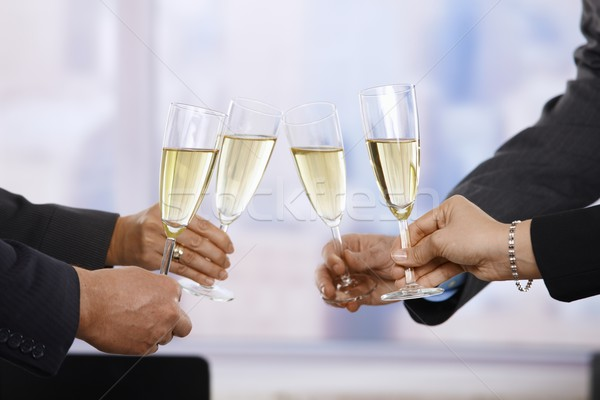 Photo stock: Gens · d'affaires · célébrer · champagne · mains · Toast