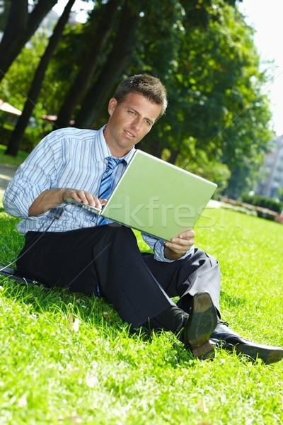 Zakenman outdoor vergadering gras naast Stockfoto © nyul