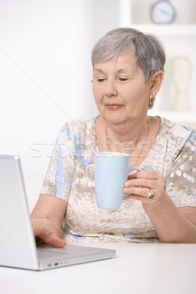 Senior woman browsing internet Stock photo © nyul