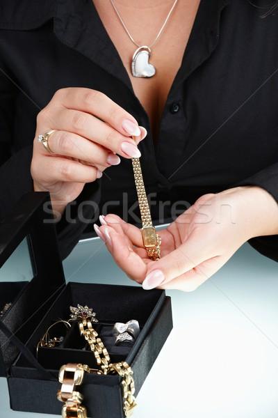 Female hand holding watch Stock photo © nyul