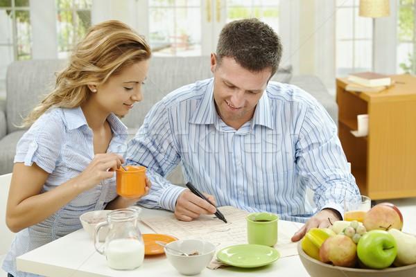 Stockfoto: Ontbijt · home · paar · gezonde · lezing · krant