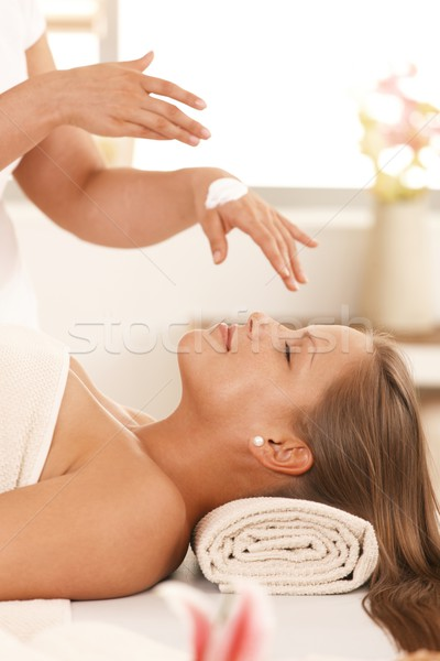 массажист кремом женщину глазах красоту Сток-фото © nyul