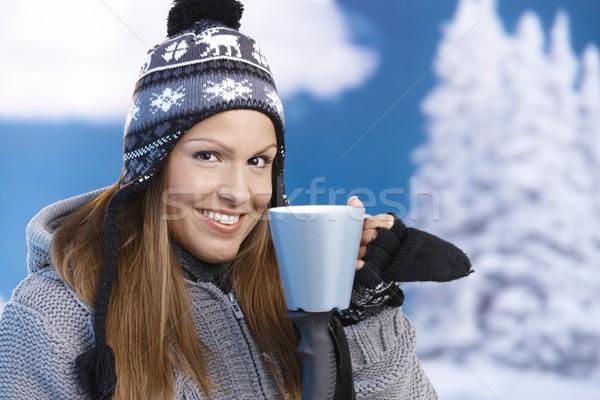 Foto stock: Agradable · nina · potable · caliente · té · esquí