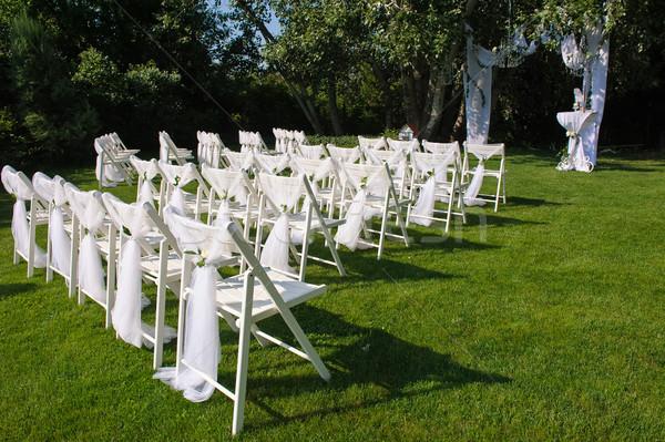 белый украшенный стульев зеленый газона арки Сток-фото © O_Lypa
