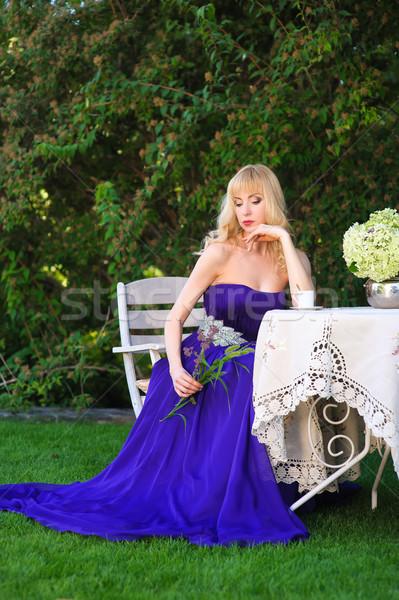 Portret kobieta wieczór suknia piękna kobieta Zdjęcia stock © O_Lypa