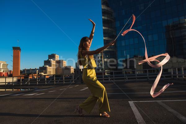 гимнаст девушки лента профессиональных женщину танцовщицы Сток-фото © O_Lypa