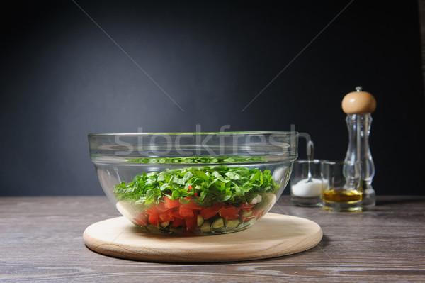 üveg salátástál asztal tele tál friss Stock fotó © O_Lypa
