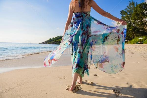 Magányos lány sétál tengerpart hátulnézet nyár Stock fotó © O_Lypa