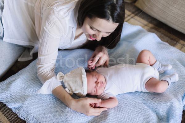 Nő új született fiú újszülött baba Stock fotó © O_Lypa