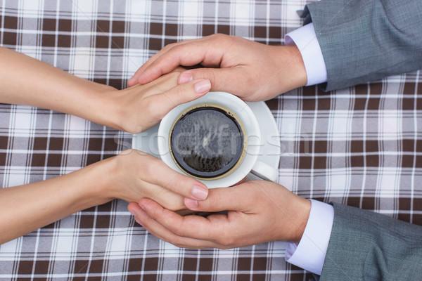 Stock fotó: Szerelmespár · tart · együtt · csésze · kávé · kezek