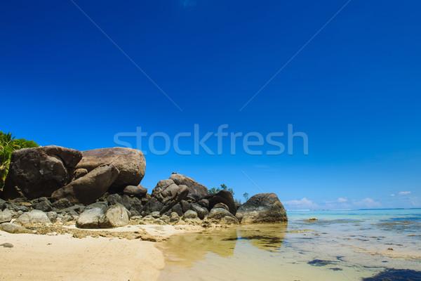 Dev taşlar plaj Seyşeller deniz manzarası görmek Stok fotoğraf © O_Lypa