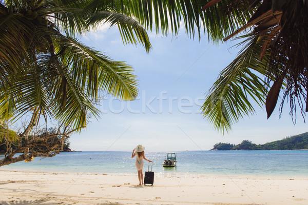 Lány bőrönd tengerpart fiatal nő kalap átlátszó Stock fotó © O_Lypa