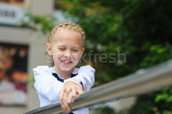 Kislány portré gyermek gyönyörű ruha néz Stock fotó © O_Lypa