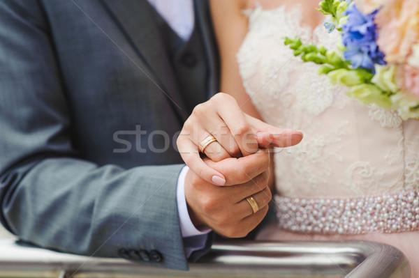 Közelkép kéz menyasszony vőlegény tart kezek Stock fotó © O_Lypa