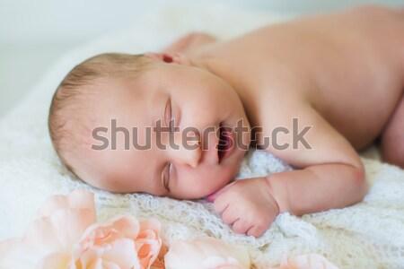 Stock photo: Smiling newborn baby