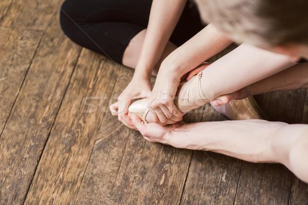 Balett láb magas nyújtás pár nyújtott Stock fotó © O_Lypa