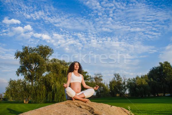 Stok fotoğraf: Hamile · kadın · meditasyon · poz · taş · çim · park