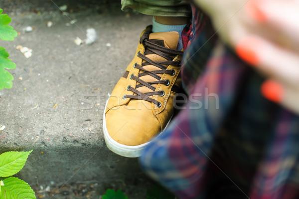 Stock fotó: Férfi · nő · lépcsősor · park · fókusz · cipők