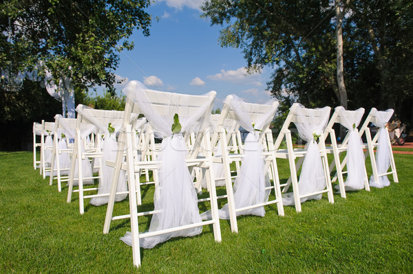 White decorated back chairs Stock photo © O_Lypa