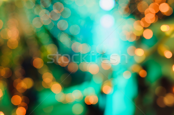 Kerstboom decoratie lichten abstract gekleurd wazig Stockfoto © O_Lypa
