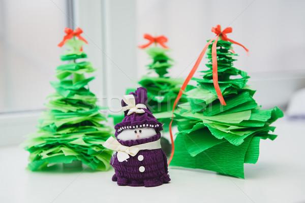 Karácsony dekoráció hóember fehér karácsonyfa hó Stock fotó © O_Lypa