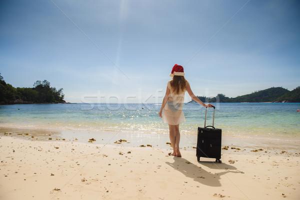 девушки чемодан пляж Рождества отпуск Сток-фото © O_Lypa
