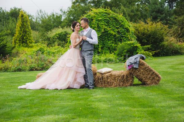 Menyasszony vőlegény tart borospoharak szemüveg gyártmány Stock fotó © O_Lypa