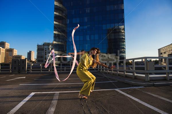 Tornász lány szalag profi nő táncos Stock fotó © O_Lypa