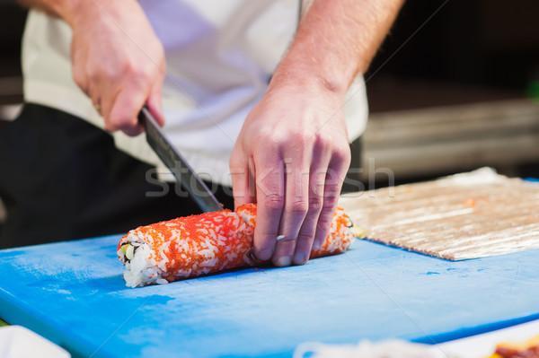 Stock fotó: Vág · szusi · darabok · hagyma · kicsi · főzés