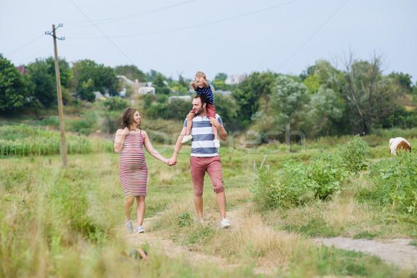 Stock fotó: Terhes · család · szórakozás · boldog · nyár · természet