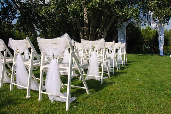 Fehér díszített székek zöld gyep szett Stock fotó © O_Lypa