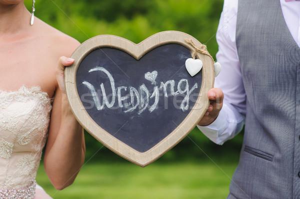 Plaat opschrift romantische paar Stockfoto © O_Lypa