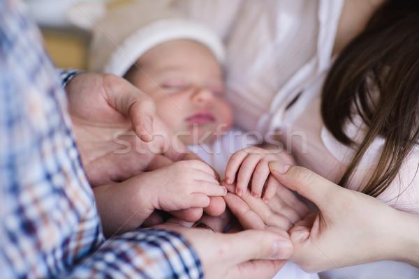 Сток-фото: матери · отец · стороны · спальный · ребенка