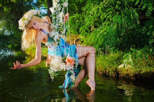 Stock fotó: Lány · hinta · folyó · házi · fa · díszített