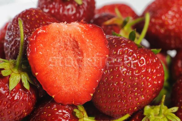 Eper üveg tányér lédús ízletes eprek Stock fotó © O_Lypa