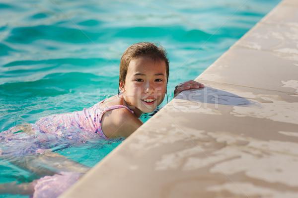 çocuk kız mavi yüzme havuzu Asya gülen Stok fotoğraf © O_Lypa