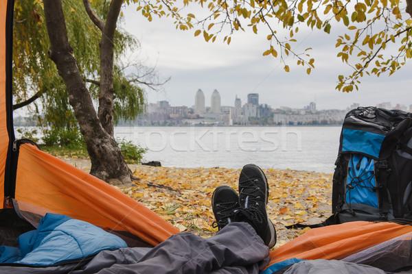 Kilátás sátor lábak gyönyörű kívül fókusz Stock fotó © O_Lypa