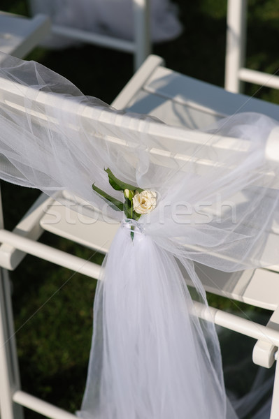 White chair with a small flower Stock photo © O_Lypa