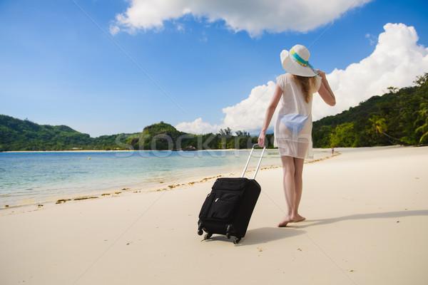 Kadın bavul mayo plaj güzel Asya Stok fotoğraf © O_Lypa