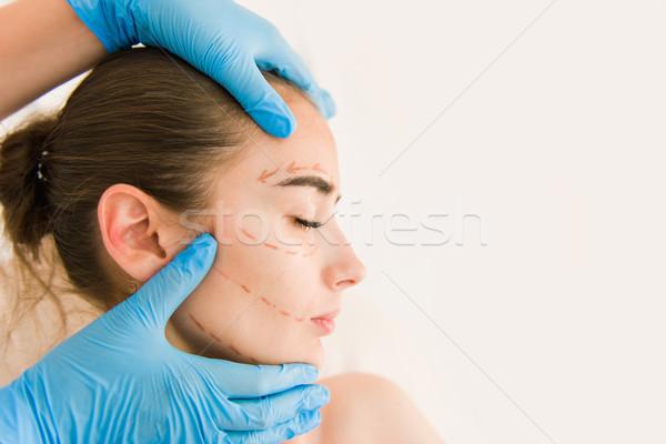 Stockfoto: Arts · handen · handschoenen · aanraken · vrouw · gezicht · huid