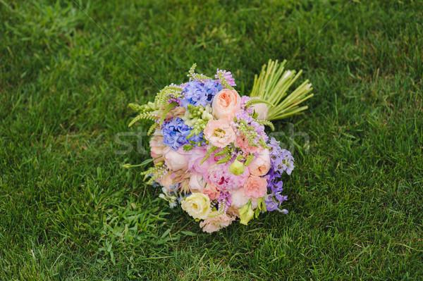 Esküvői csokor fű csodálatos luxus különböző virágok Stock fotó © O_Lypa