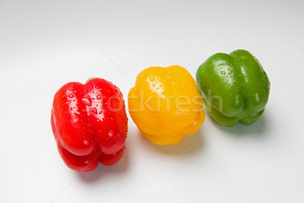 Stock fotó: Három · paprikák · fehér · különböző · színek · hazugság