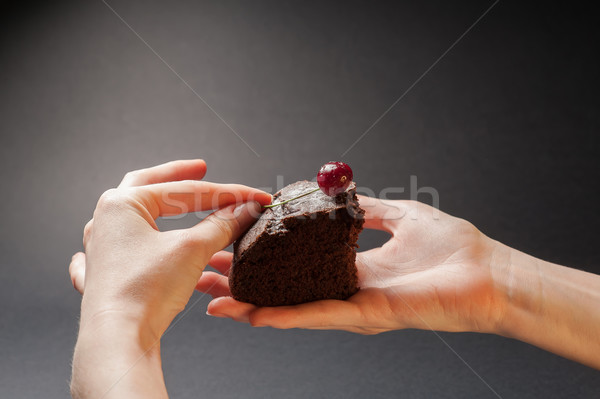 Piece of delicious cake with cherry on top Stock photo © O_Lypa