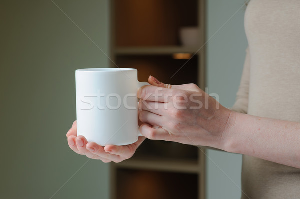 Stock fotó: Fehér · csésze · kéz · lány · kávéscsésze · kezek