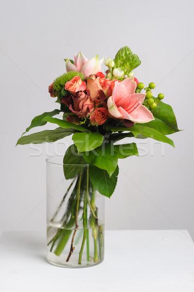 Virágok üveg váza virág egyezség asztal Stock fotó © O_Lypa