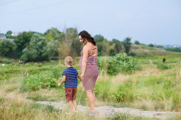 Stock fotó: Terhes · nő · fiú · sétál · vidék · nő · baba