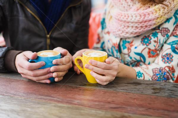 Stockfoto: Man · vrouw · drinken · koffie · straat · cafe